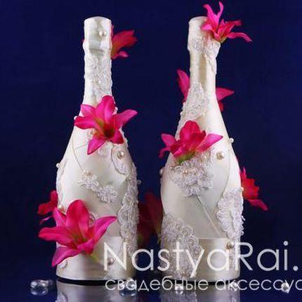 Свадебные бутылки с орхидеями