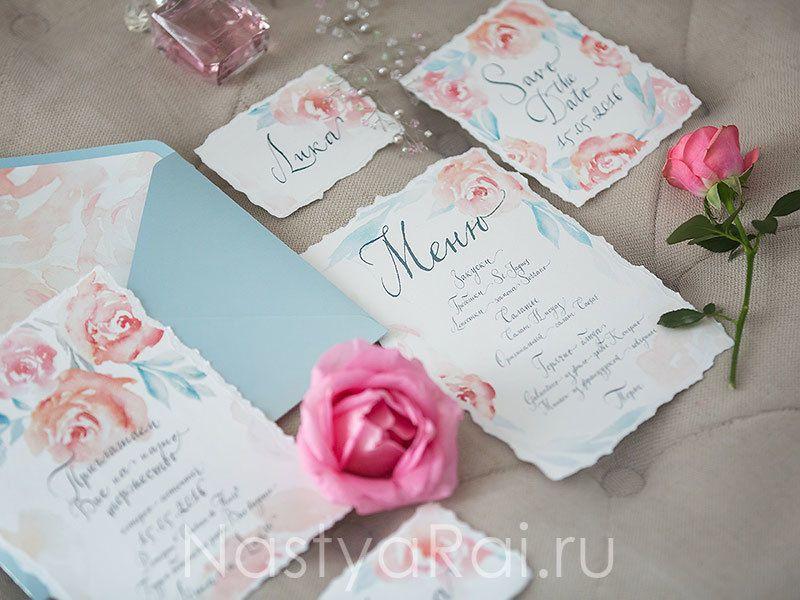 """Коллекция полиграфии """"Воздушные цветы"""", приглашения на свадьбу, меню, рассадочные карточки - фото 11267450 """"Настя Рай"""" - платья, аксессуары, цветы и декор"""