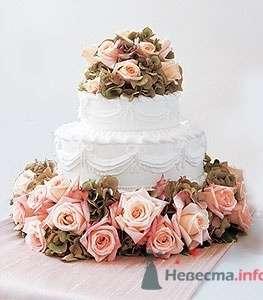 Свадебный торт украшеный розами - фото 406 Mallina Botanique - праздничное оформление