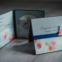 пример упаковки CDдиска к свадебному приглашению, может быть выполнено в любой цветовой гамме из этой коллекции