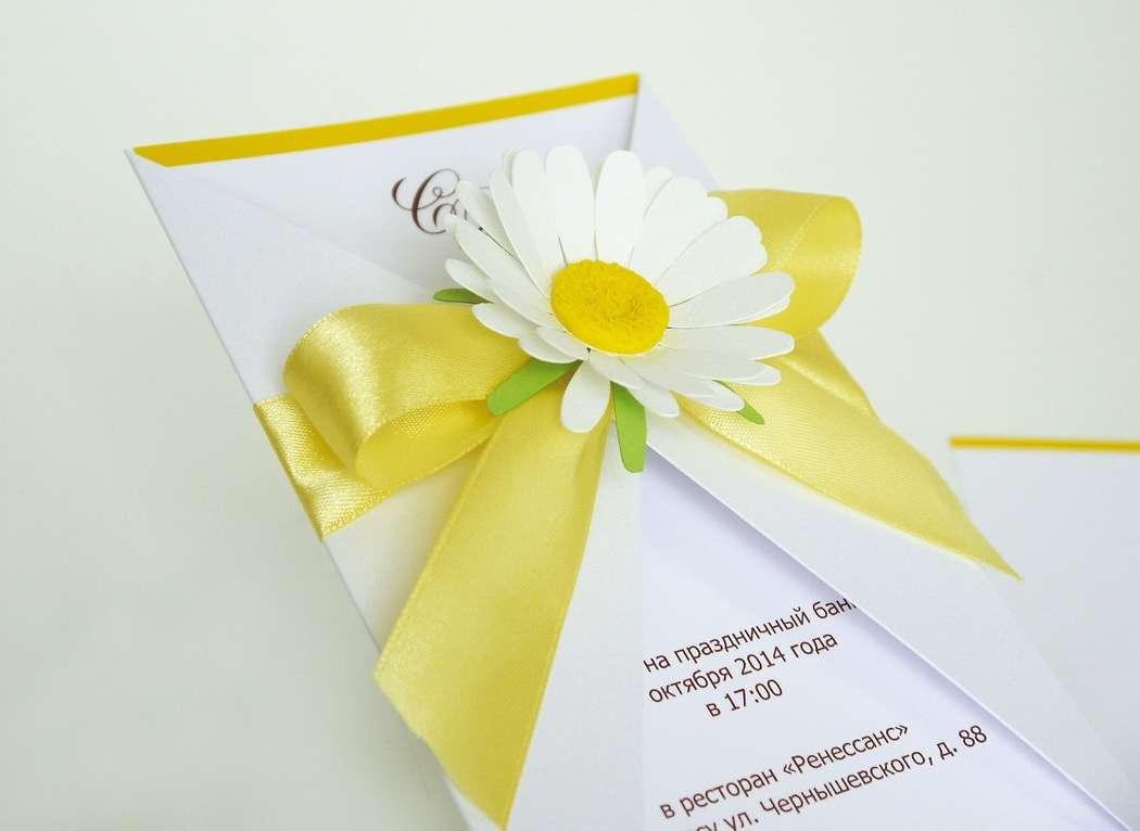 Ромашки на свадебной открытке