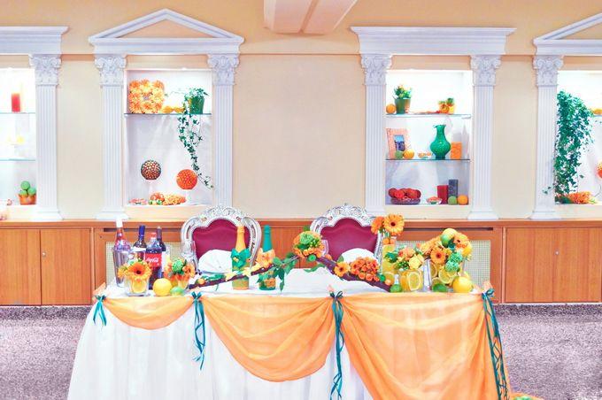 Президиум оранжевого цвета (Апельсиновый декор)