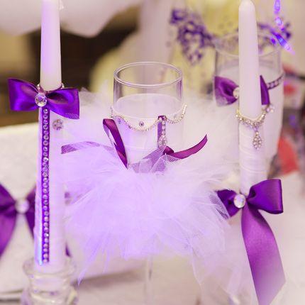 Комплект - украшение на шампанское, фужеры, свечи