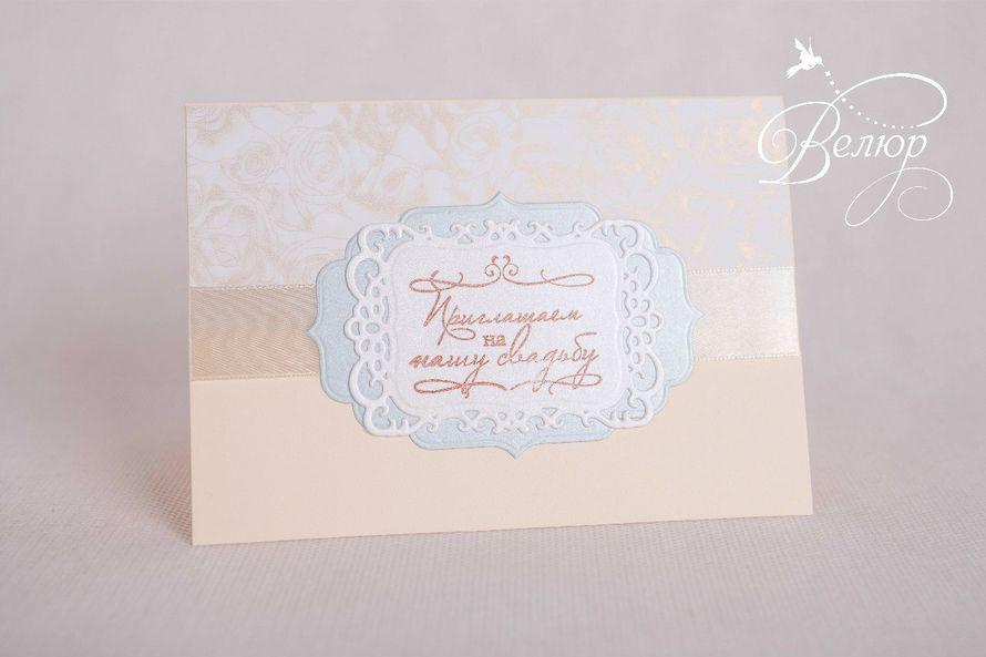 """Авторские приглашения ручной работы: дизайнерский картон, перламутровый картон, тиснение, штампинг, вырубка. Стоимость- 110руб. Минимальный заказ- 15шт - фото 5690048 """"Велюр"""" - приглашения, свадебные аксессуары"""