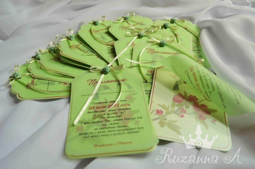 """Приглашения на летнюю свадьбу на открытом воздухе! Нежный мятный картон, калька и фигурная резка. 90руб/шт, минимальный заказ- 15шт - фото 5690064 """"Велюр"""" - приглашения, свадебные аксессуары"""