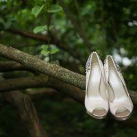 Белые тканевые туфельки для невесты на ветке дерева
