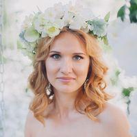 портрет невесты, венок в стиле шебби шик, прованс