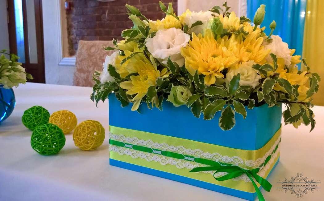 Яркая желто-голубая свадьба, оформление президиума - фото 6164527 Студия декора Rizi