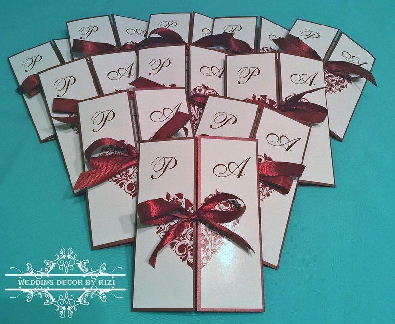 Пригласительные для свадьбы в винном цвете марсала - фото 7804672 Студия декора Rizi