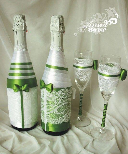 Украсить шампанское атласными лентами на свадьбу своими руками фото