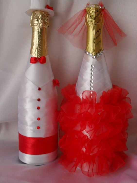 Украшение на шампанское для свадьбы фото своими руками
