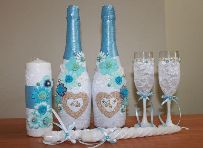 Как украсить бокалы и шампанское на свадьбу своими руками
