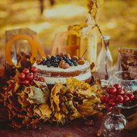 торт в осеннем оформлении свадьбы Яны и Жени