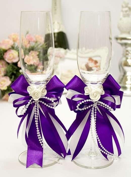 Свадебные бокалы фиолетовые своими руками