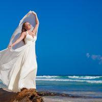невеста, съемка в Доминикане,  пляж Макао