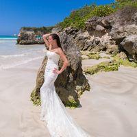 невеста, съемка в Доминикане,  пляж Макао,  платье