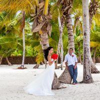 свадьба в Доминикане, невеста и жених, любовь, пальмы