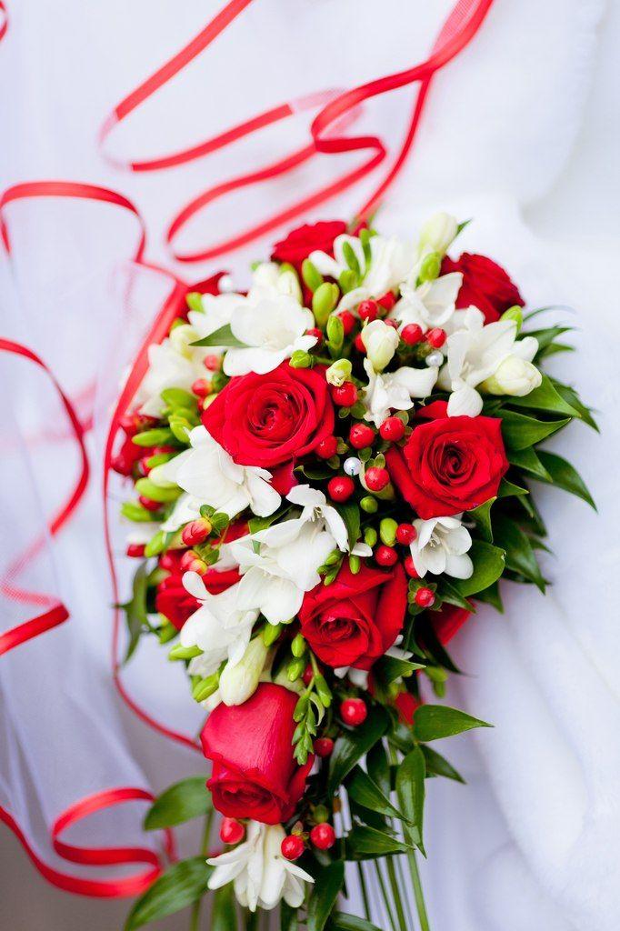 Свадебный букет из красных роз и белых фрезий фото