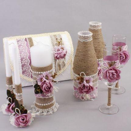 Свадебные аксессуары в наборе. Рустик, цвет брусничный