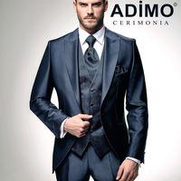 Мужской свадебный костюм-тройка Adimo, темно-синий