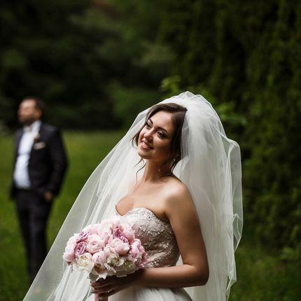 Букет невесты из пионов, роз