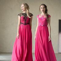 Платье слева: Артикул: Лия черно-малиновое. Материал: Шифон, кружево. Стоимость: 24.500 р.  Платье справа:  Артикул: Белла малиновое. Материал: Шифон, кружево. Стоимость: 25.500 р.