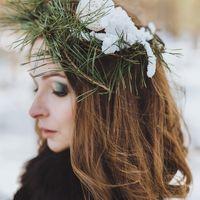 зимняя свадьба, зима, лес, венок, зимний венок