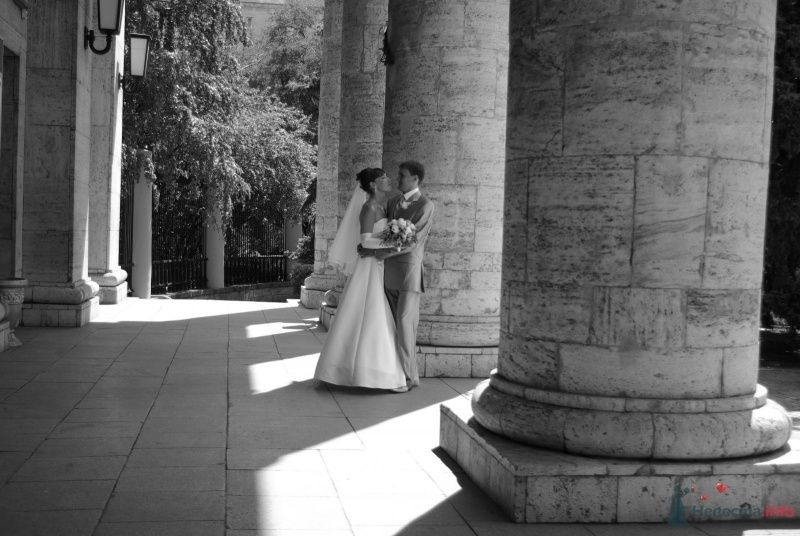 Жених и невеста стоят, прислонившись друг к другу, на фоне колон здания - фото 35371 Катринка@Leopardik