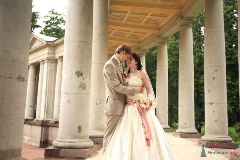 Жених и невеста, прислонившись друг к другу, стоят на фоне колон - фото 31627 kelly