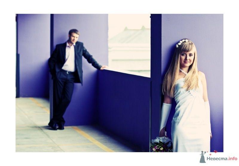 Жених и невеста стоят недалеко друг от друга на фоне сиреневой стены