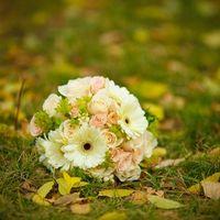 Букет невесты из роз и гербер в нежных розовых тонах