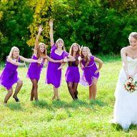 Невеста и подружки в сиреневом
