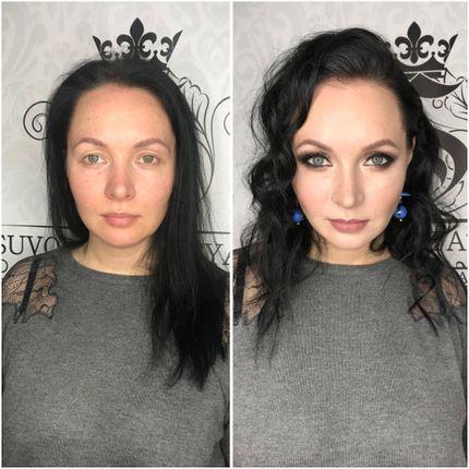 Пробная свадебная причёска и макияж