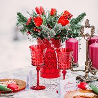 Зимняя фотосессия в красном цвете