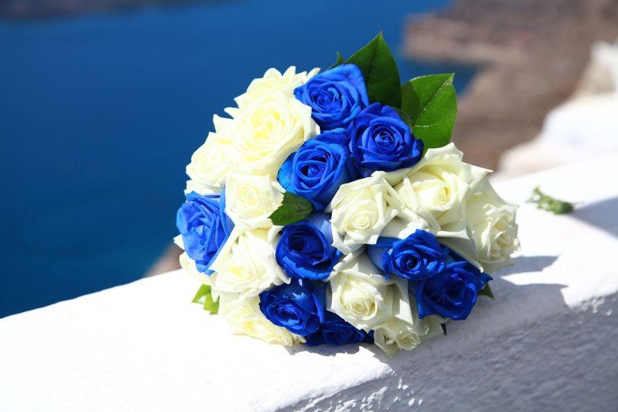 101 розой, букет из синих роз на свадьбу