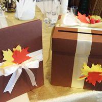 Свадебная казна в виде коробочки, папка для свидетельства о регистрации брака для свадьбы в осеннем стиле.