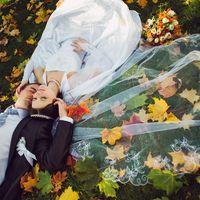 осень, фата, листья