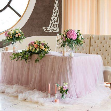 Оформление президиума в розовом цвете