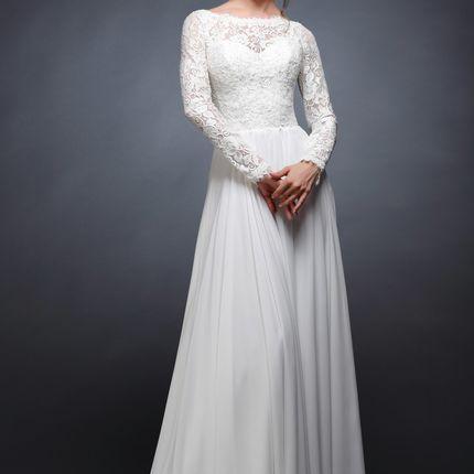Белое платье с длинными рукавами 2018 Арина