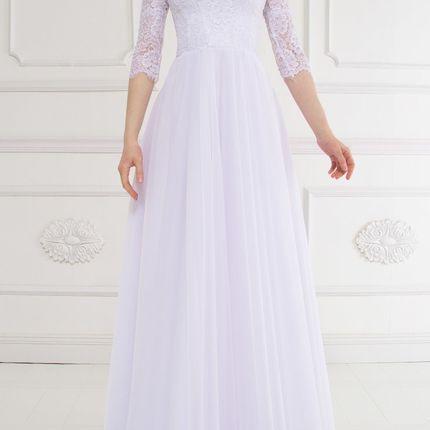Свадебное платье с рукавами для полных Дива