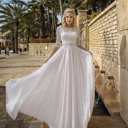 Белое платье с рукавами Фрей (SV095)