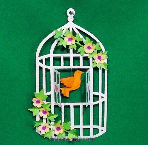 Клетка для птиц из бумаги