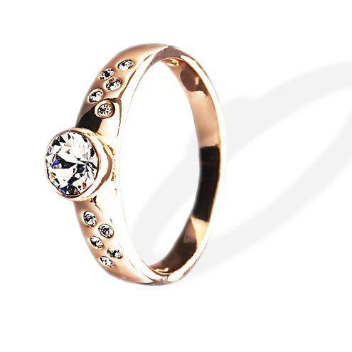 Кольцо Parisienne soir gold crystal Покрытие - золото 585 пробы Вставки - кристаллы Swarovski Размеры 16-19  - фото 5089155 Ювелирный салон Mademoiselle Jolie Paris