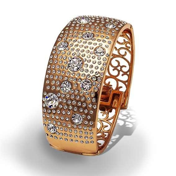 Браслет Parisienne grand gold crystal Покрытие - золото 585 пробы Вставки - кристаллы Swarovski   - фото 5089167 Ювелирный салон Mademoiselle Jolie Paris
