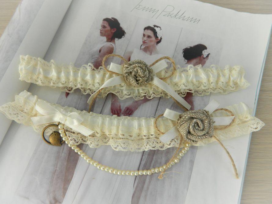 Свадебные подвязки в стиле рустик. - фото 15377892 Lola&Bride - свадебная мастерская