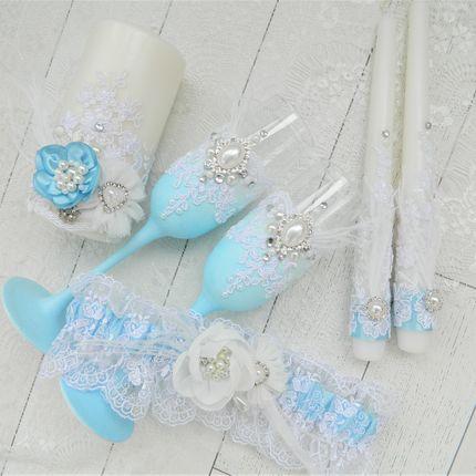 """Набор свадебных аксессуаров """"Light blue"""""""