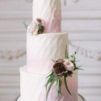 Нежный кремовый тортик, с живыми цветами и цветным градиентом.