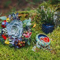 Букет для свадьбы в бохо-стиле