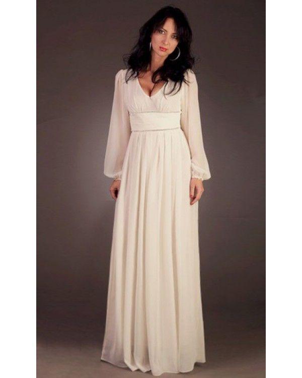 Длинное шифоновое платье с длинным рукавом своими руками
