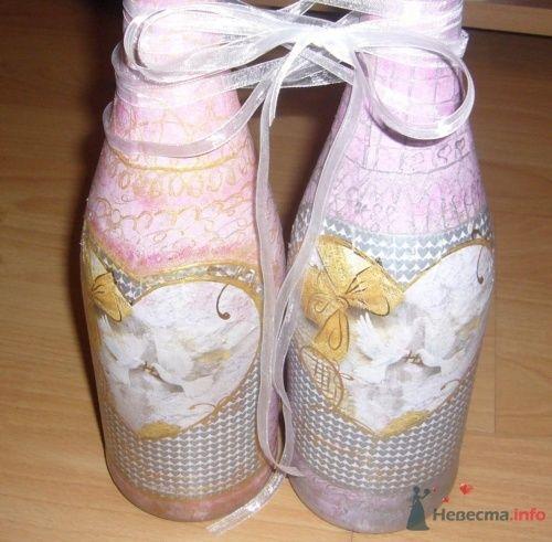 Декор свадебных бутылок в розовых тонах с голубями. - фото 859 Cвадебная полиграфия
